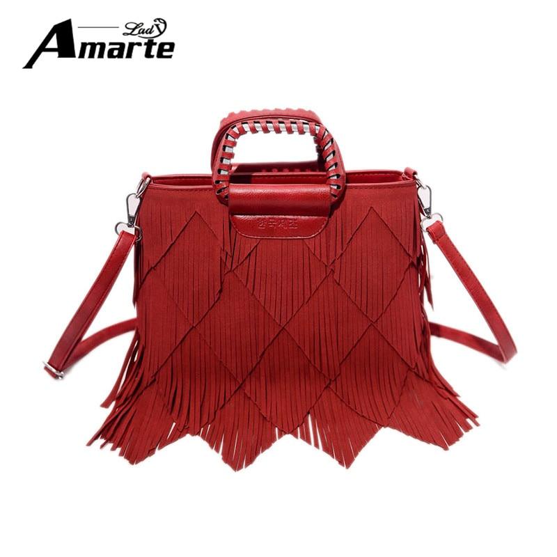 Amarte Women Leather Shoulder Bags 2017 New Fashion Women Tassel Desing Handbags Big Capacity Women Top Handle Handbags Tote fashion desing коробка сердце 80036076