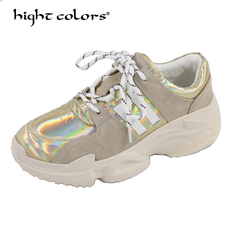 Women High Platform Wedges Gladiator shoes Autumn 2018 Lace Up Sequined Cloth Round Toe Casual Pumps Comfortable shoes H898