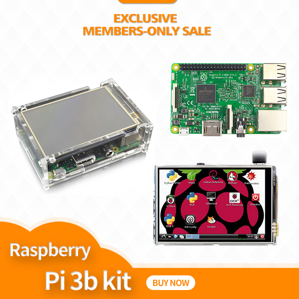 Original Raspberry Pi 3 Model B + ABS Case + 3.5 Inch TFT LCD Display