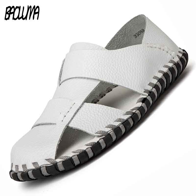 Summer Men Beach Sandals Handmade Genuine Leather Men Roman Sandals Shoes Soft comfortable Men Leisure Durable Shoes
