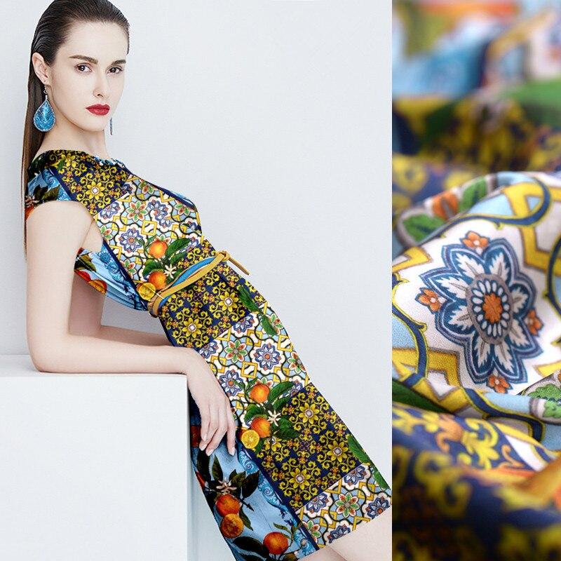 Die garten Eden digitale malerei stretch satin naturseide stoff für kleid tissus au meter telas tissu telas por metros DIY