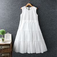 Hollow water soluble hook flower patchwork super fairy dress women summer full tank dress