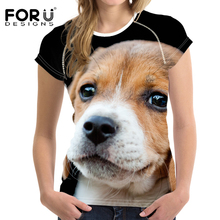 FORUDESIGNS Beagle Printed T Shirt Women Harajuku Tee Femme for Females Fitness Clothing Kawaii Dog Summer Tops Couple