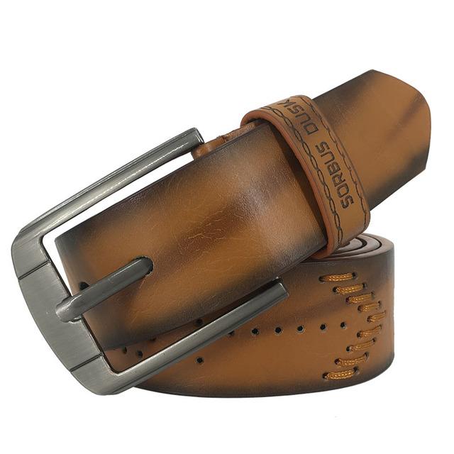 Cinturón para hombre de alta calidad, de cuero de vaca, hebilla de pin vintage