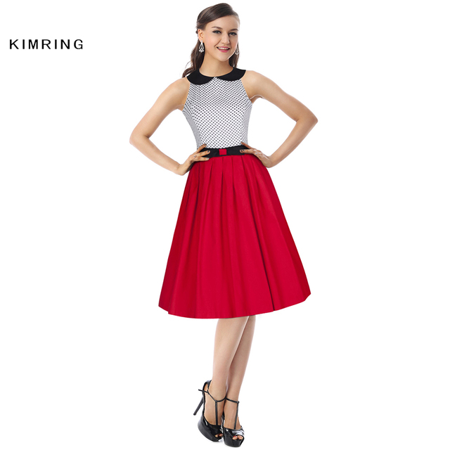 Kimring Sommer Mode Kleid Hepburn Stil Frauen Casual 50 s 60 s Polka Dot Muster Cocktails Rockabilly Robe Retro Swing kleid