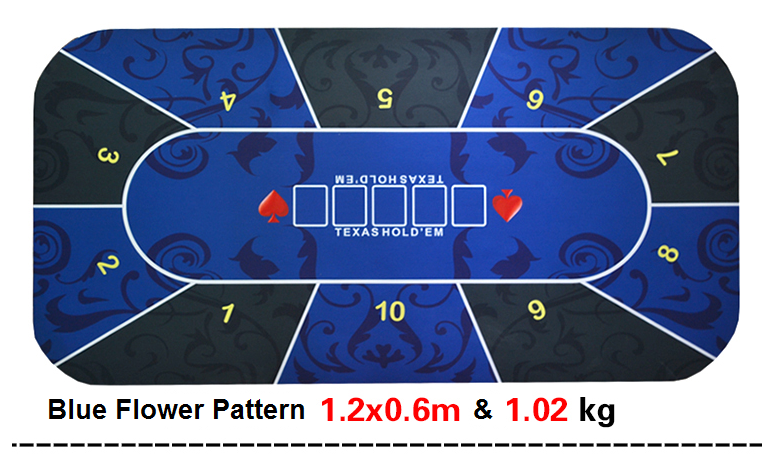 Texas Holdem Poker Mat 1.2*0.6m Blue and Green Flower pattern rubber gaming mat