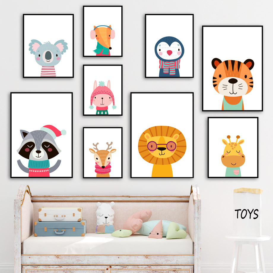Tiger Lion Koala Giraffe Panda Sloth Nursery Wall Art Canvas Painting Nordic Posters And Prints Wall Pictures Kids Room Decor in Painting Calligraphy from Home Garden