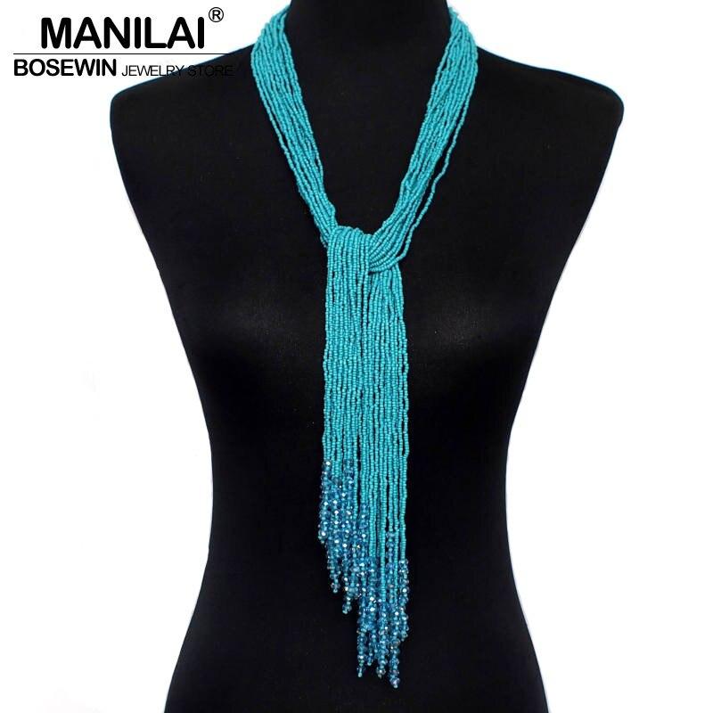 MANILAI 12 Couleur Boho Style Bijoux À La Main Perlé Long collier pour femmes Résine Perle Glands Pendentif Collares colliers de déclaration