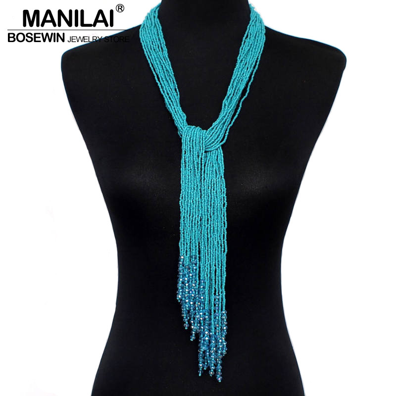 MANILAI 12 Color Boho Style Jewelry Handmade Beaded Long s