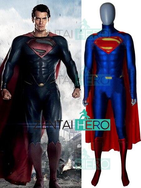 3d Afdrukken Man Van Staal Superman Cosplay Kostuum Spandex Man Van Staal Superman Superheld Bodysuits Voor Hallween Party Met Cape