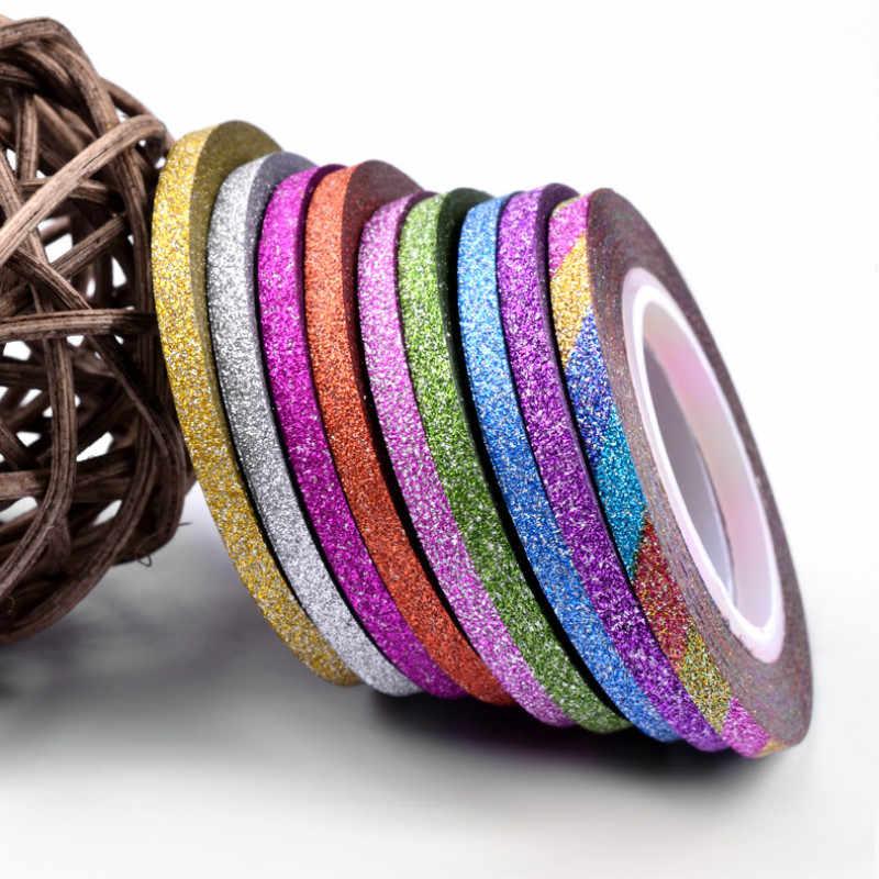 2018 1mm 12mm brillo de Color de uñas rayas línea cinta etiqueta engomada de arte decoraciones consejos diy para esmalte de uñas en gel de sobresalen por