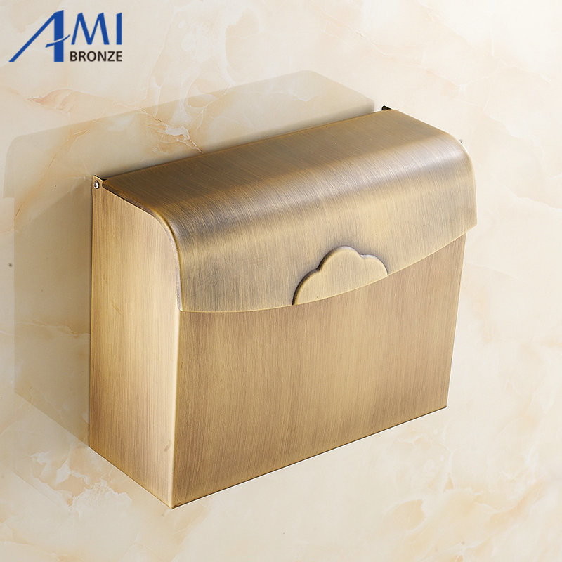 Antique Brass Toilet Paper Holder box Wall Mounted Bathroom Accessories Sanitary wares 7010A x 3309 v folded paper dispenser abs plastic wall mounted paper holder home hotel toilet paper box
