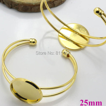 25mm New Golden plated Brass Blank Round Bezel Tray Glass Cabochon Bases open cuff Bracelet Bangle Settings Findings Wholesale
