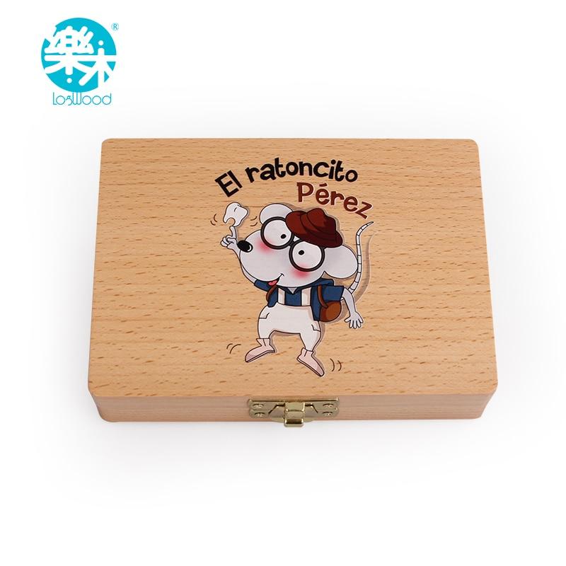 Baby trä låda tänder låda för att spara tänder arrangör baby mjölk tänder barn tänder box spansk tand fe Trästand box