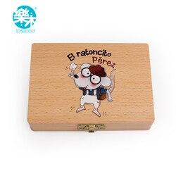 Caja de madera para bebés, caja de dientes para guardar dientes, caja de dientes para bebés, caja de dientes para niños, caja de dientes de madera para Hada de los dientes española