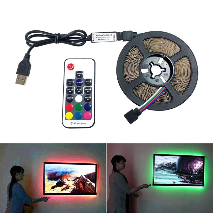 5M USB LED Strip Lamp 2835SMD 2.5M RGB LED Light Strip Tape Ribbon Flexible DC5V HDTV TV Desktop Screen Background Bias Lighting
