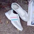 Новое прибытие дышащий полосатый спорт обувь для ходьбы женщина весной мелкой зашнуровать женщины тренеры zapatillas deportivas mujer