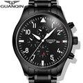 Relógios Homens 2015 GUANQIN Relógios Completa Aço Homens Relógio de Pulso Do Esporte Militar Do Exército Preto Automático Movimento Mecânico Marca de Luxo