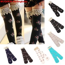 2018 Hot Sale Toddler Children Kids Girls Baby Princess Fashion Lace Floral Boot Socks Winter Knee High Warm Socks Dropshipping(China)