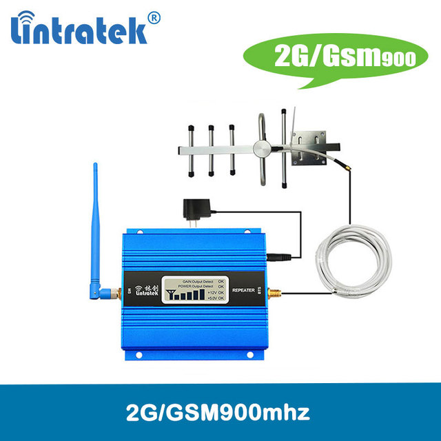 Lintratek 2G signal repeater gsm 900Mhz cellular signal booster EDGE mini mobile phone amplifier 2G with LCD disaplay full kit