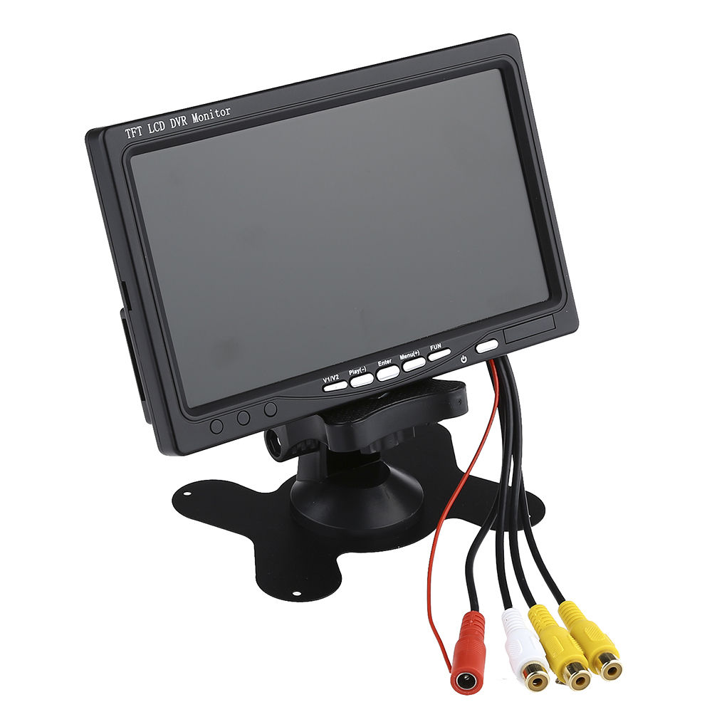 7 inch Digital Color HD TFT LCD Monitor Screen 2 Video Input Black for car Rear View Backup Camera DVD VCR GPS TV 9 inch color tft lcd car monitor display reverse priority with 2 video input backup reverse camera free shipping usb sd