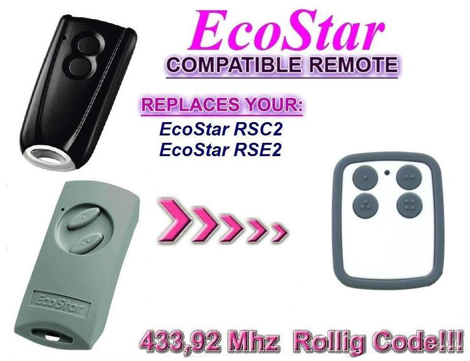Garage Door Remote Control Compatible with Hormann Ecostar RSE2 Handsender 433 Mhz rolling code