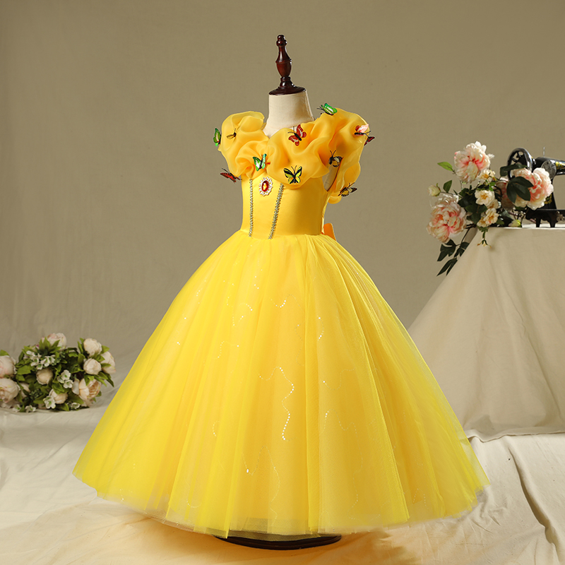 Yellow Royal Princess Dress Shoulderless Flower Girl Dresses Ball Gown First Holy Communion Dress Butterfly Evening Dress Party plus size butterfly print ball gown dress