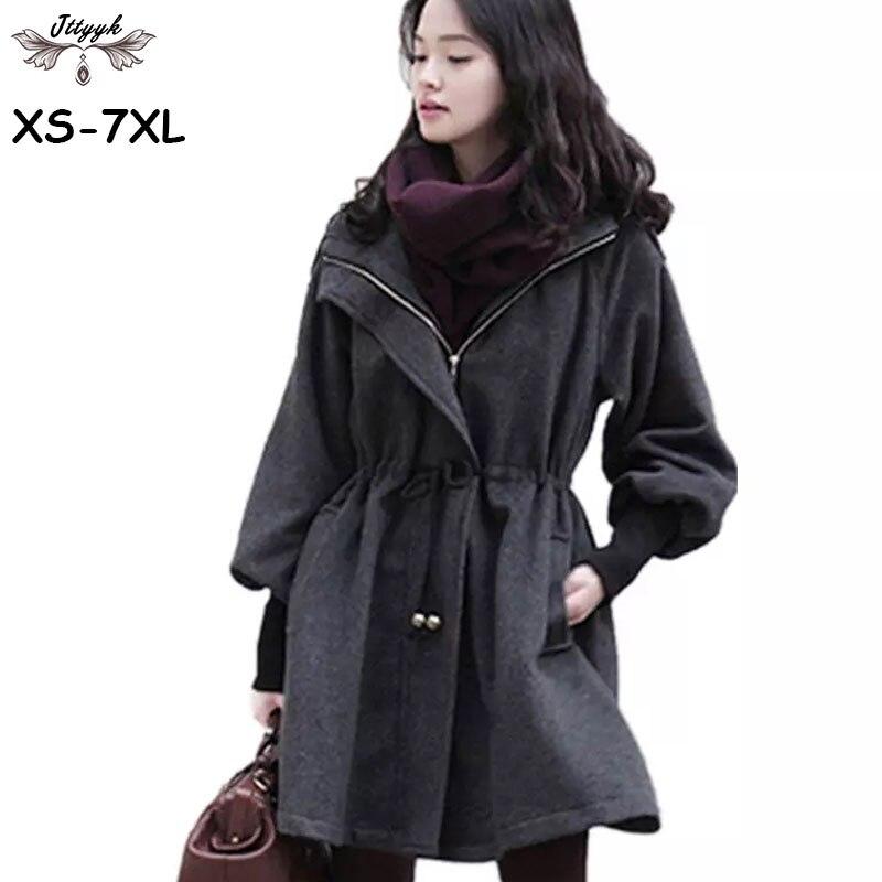 2df610b6f2b Plus size XS-7XL Autumn Winter Woolen Jacket Women Cashmere Coat Long Wool  Coat Women Winter jacket Thick Hooded Overcoat LJ209