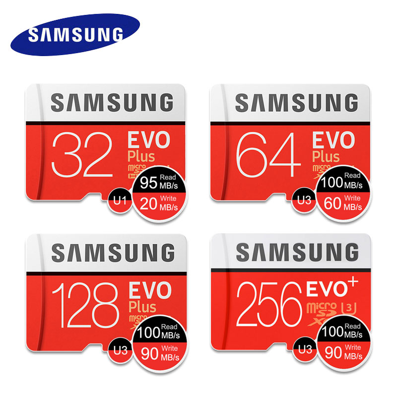 Карта Micro SD SAMSUNG EVO Plus, оригинал, 32 ГБ, 64 ГБ, 128 ГБ, 256 ГБ, SDHC, SDXC, класс 10, C10, UHS, TF-карты Trans Flash, Microsd