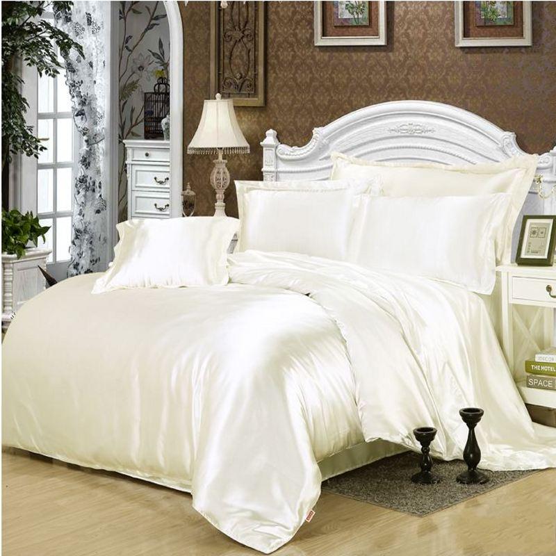 White satin duvet cover solid color 4/6pcs Imitation silk ...
