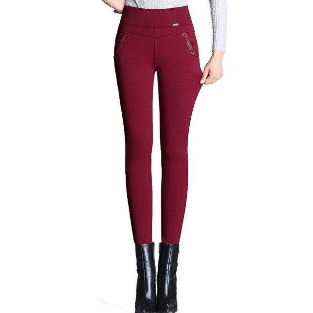 MOBTRS Women Leggings Plus Size Solid Color Casual Pencil Pants Women High Waist Pants Office