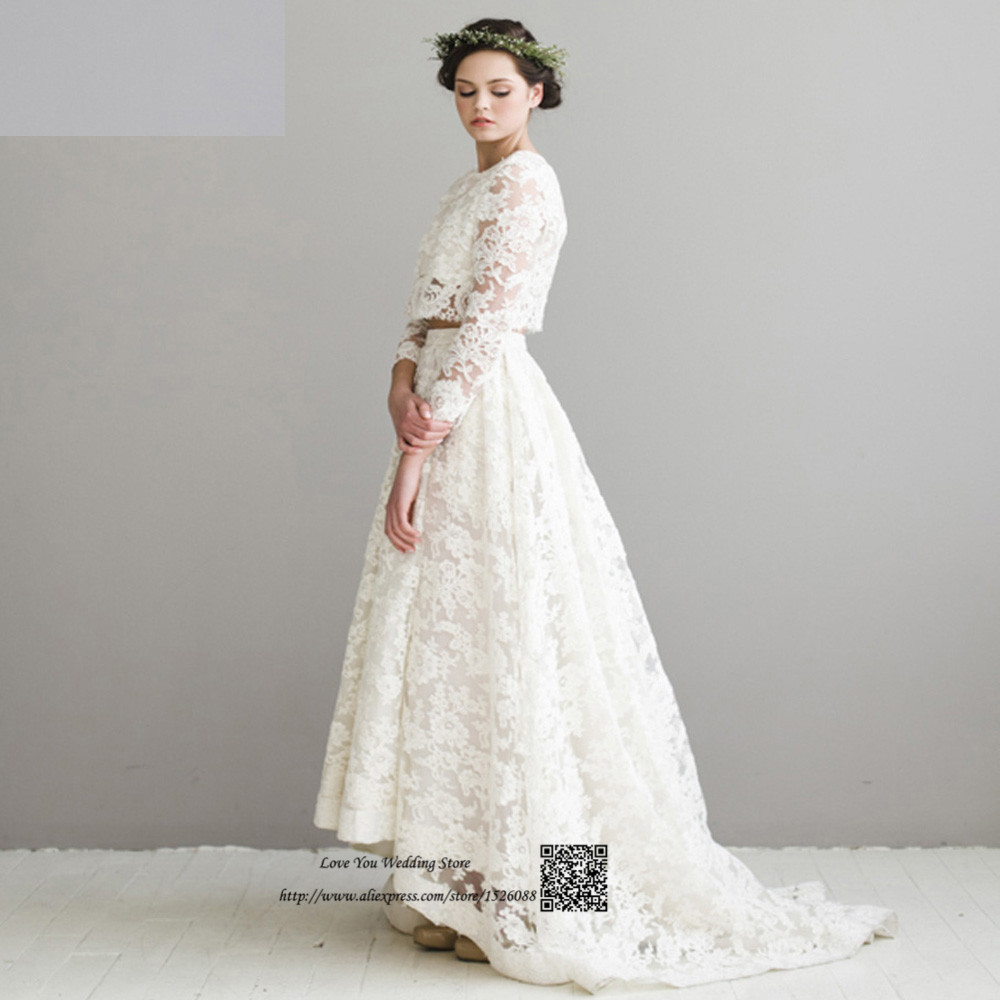 Boho high low wedding dresses two piece korean wedding for Long sleeve high low wedding dresses