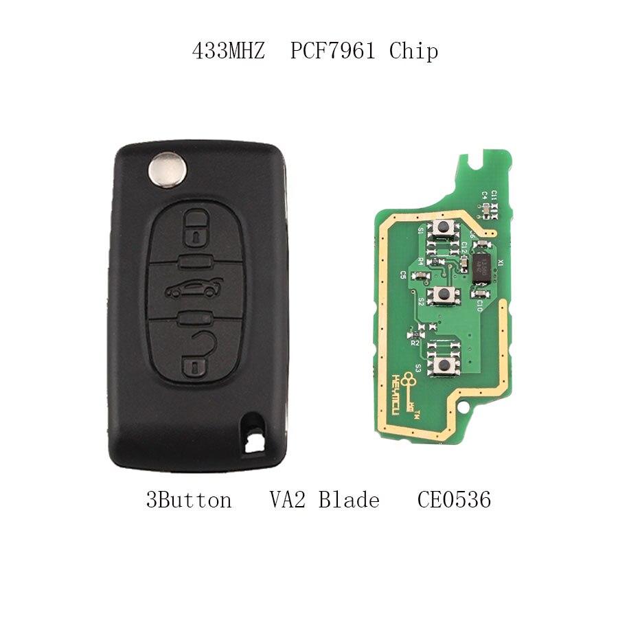 3 Boutons À Distance Clé VA2 433 MHz Transpondeur PCF7961 puce pour Peugeot 207 208 307 308 407 507 607 clé de voiture CE0536 DEMANDER