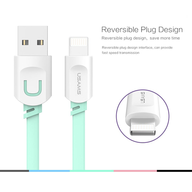 2018 Latest Cable For IPhone IOS 10 9 USAMS 2.1A Fast Charging 0.25m 1m 1.5m Flat Usb Charger Cable For iPhone 7 i6 iPhone 6 6s Cable Online