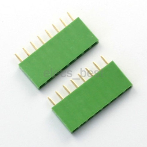 Green 8Pin 1*8 Single Row Female pin Header 2.54mm Socket Connector for Arduino