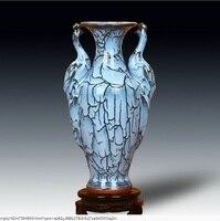 Jingdezhen porcelain ceramic porcelain antique vase Binaural peacock blue glazed vase of modern handicrafts