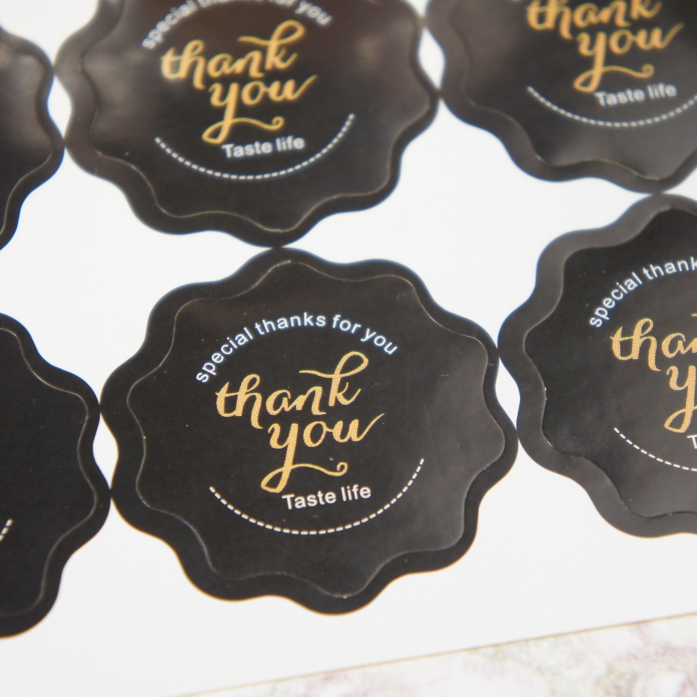 multi-use 60pcs (10 sheets) thank you black Paper sticker Scrapbooking DIY gift packing Label Decoration Tag party