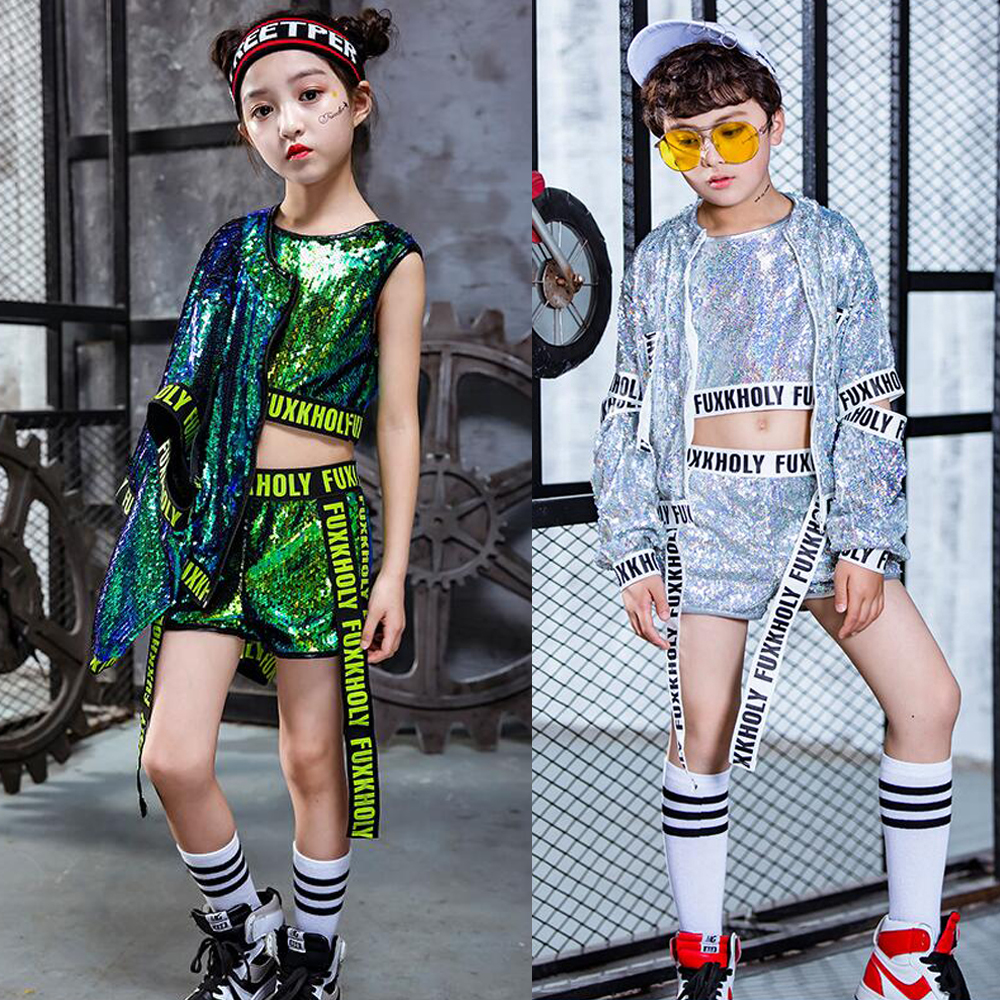 Tops+Pant+Coat Kids Sequined Ballroom Modern Jazz Hip Hop Dance Wear Clothes Costumes Girls Boys Performance Party Stage Outfits