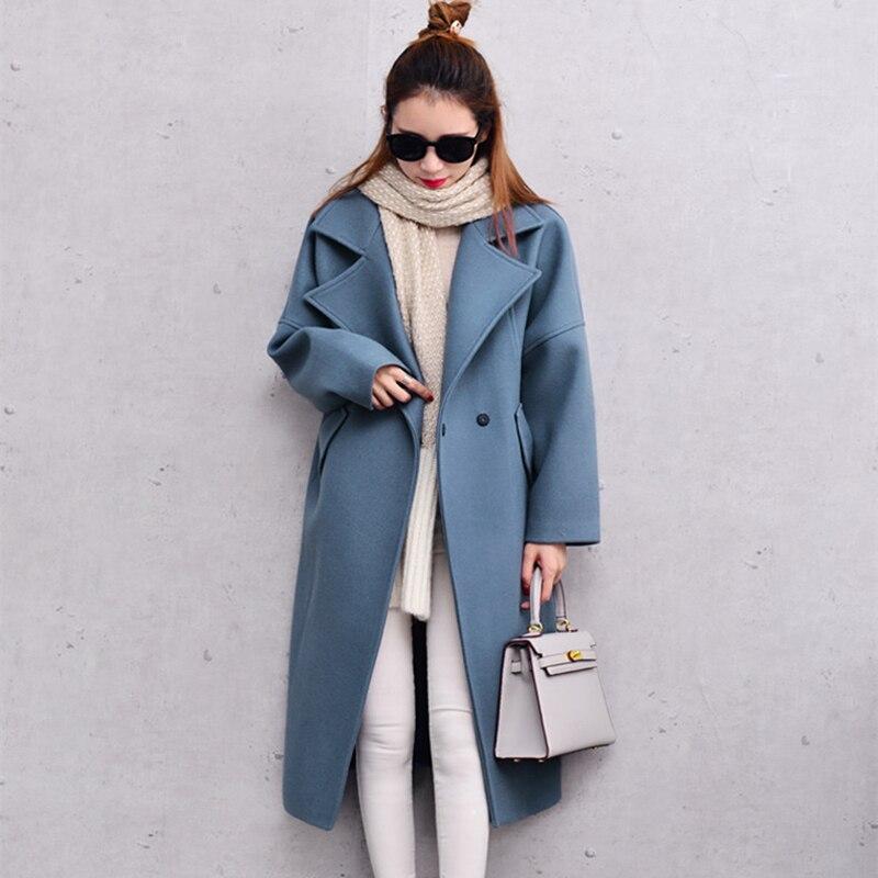 Femmes Laine Manteau D'hiver Manteaux Femmes Mélange Manteau Bleu Rose Longue Surdimensionné Avec Quilting Hiver Chaud Tranchée J16DD0429