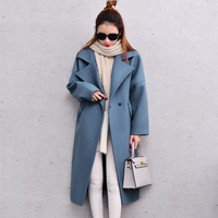 Women Wool Coat Winter Coats Women Blend Coat Blue Pink Long Oversized With Quilting Winter Warm Trench J16DD0429