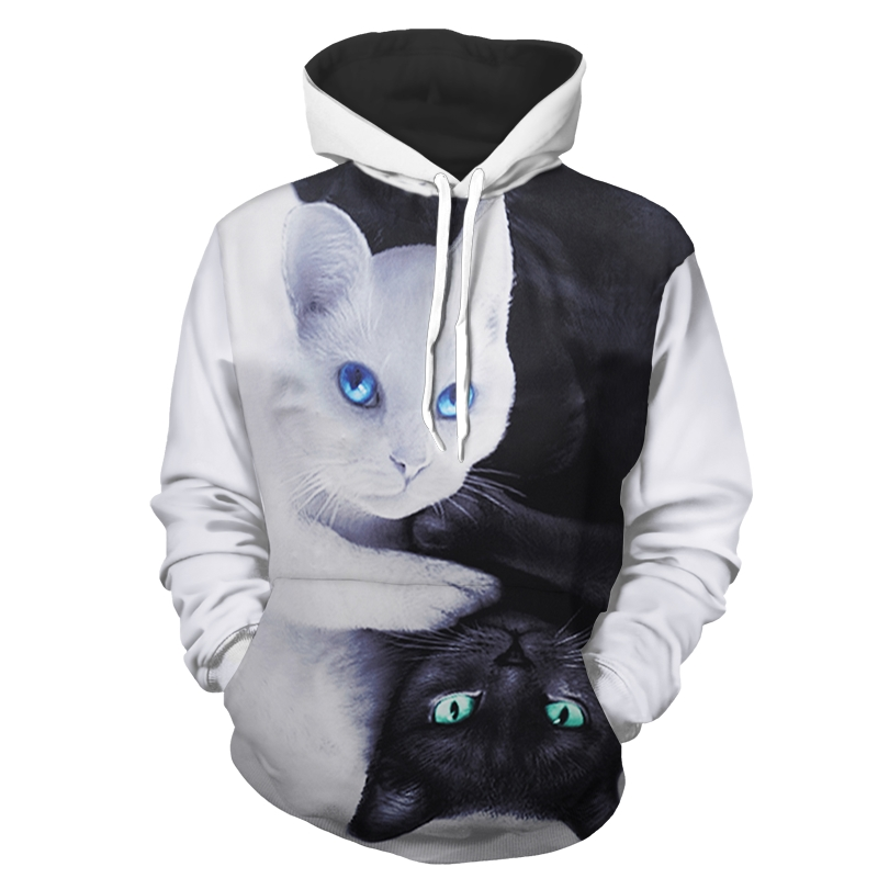 3D Black Cat Printed Hoodies Men Women Sweatshirts Hooded Pullover Fashion Outwear New