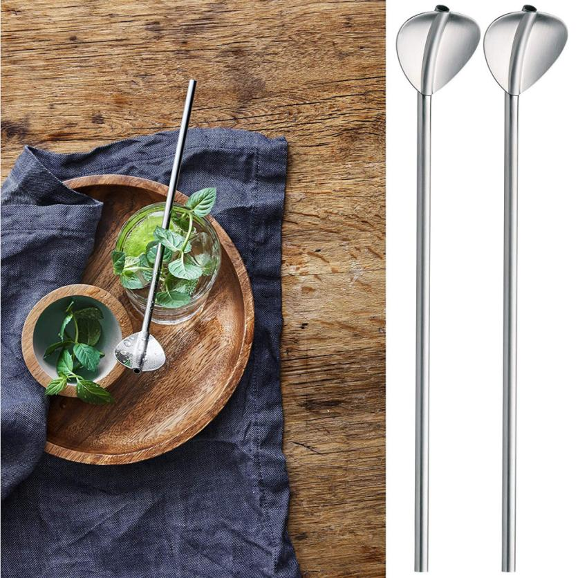 2Pcs Stainless Steel Cocktail Spoons Metal Drinking Straw Reusable Straws Cocktail Spoons Set 2O0727