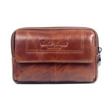 New Men Leather Cowhide Vintage Travel Cell Mobile Phone Case Cover Belt Pouch Purse Fanny Pack Waist Bag