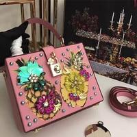 Super Pink Box Bag Luxury Italy Brand Genuine Leather Tote Shoulder Bag Famous Designer Lady Diamond Pearl Gem Evening Party Bag