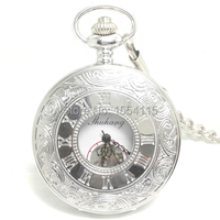 20pcs Lot Hot Sale Top Quality Silver Double Open Mechanical Pocket Watch Flip White Roman Dial