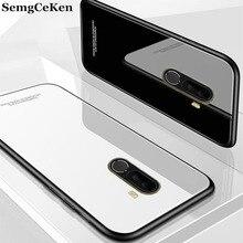 SemgCeKen luxury original glass mirror case for xiaomi mi pocophone F1 poco F 1 silicone silicon back coque phone cover etui TPU
