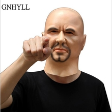 GNHYLL Scary Realistic Latex Mask Black Male Man Disguise Goatee Beard mask Halloween Cosplay Masquerade prop Costumes Accessory