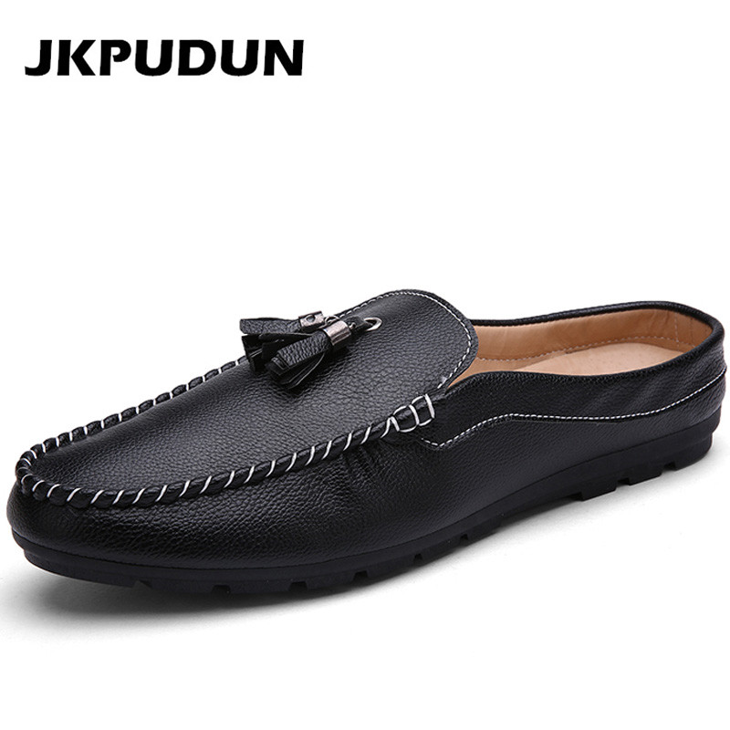 JKPUDUN Italian Mens Tassel Loafers Half Shoes Casual