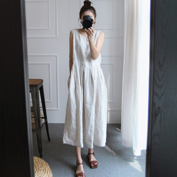 Johnature Summer New Sleeveless Large Size Cotton Linen Vintage Women Dresses 2021 Loose Casual Korean Solid Color Female Dress 1