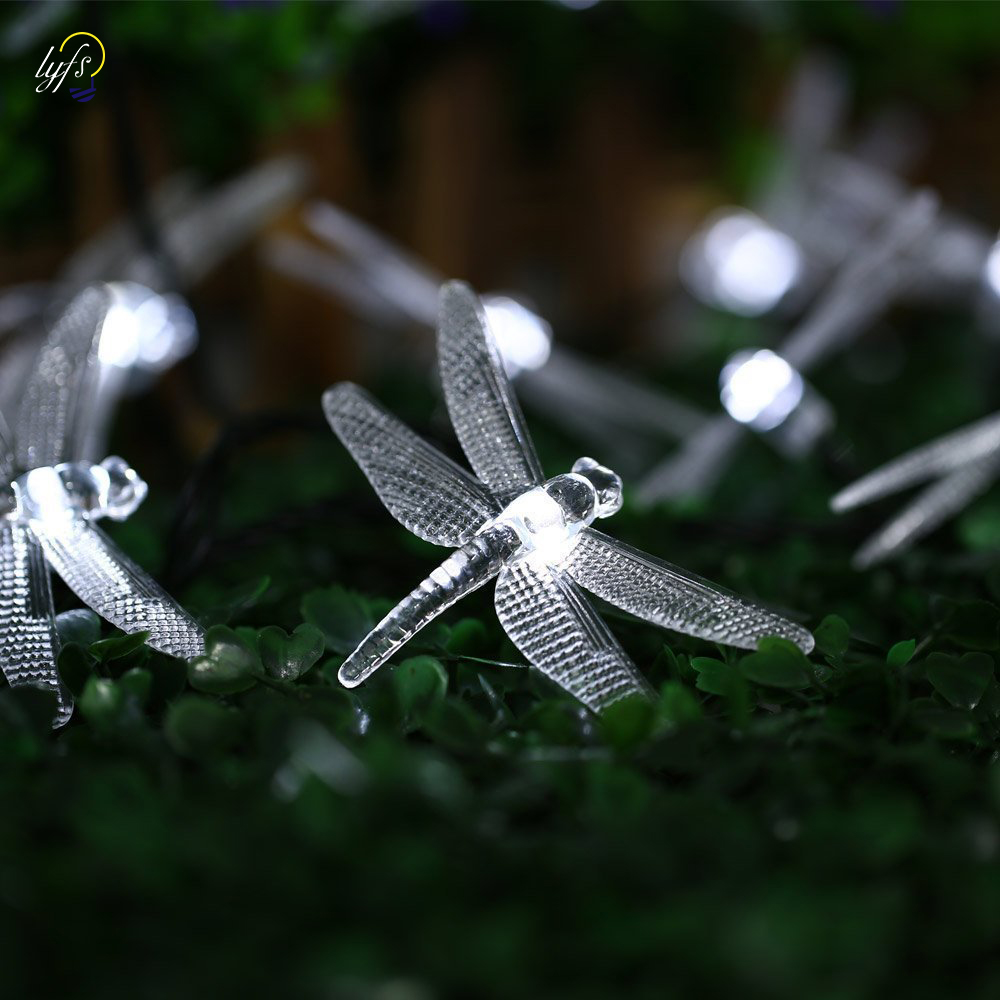 Dragonfly Solar String Lights 20 LED Waterproof Fairy Lighting for Indoor/Outdoor Garden Patio Wedding Party Holiday Decoration ledniceker multi colored solar led string lights with garden solar panel for garden patio christmas tree parties and all outdoor and indoor activities decoration 4 8 meters long 20 waterproof bulbs